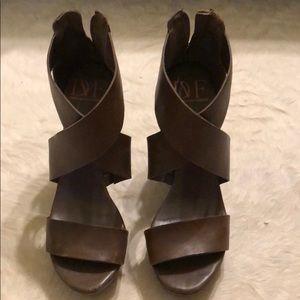 Diane von Fustenberg Wooden Heeled Sandals Wedges